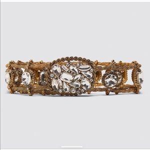 Zara bejeweled metal belt